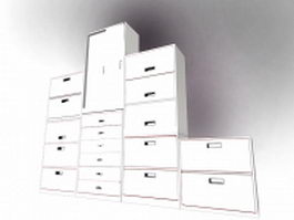 Office file cabinets furniture 3d model preview