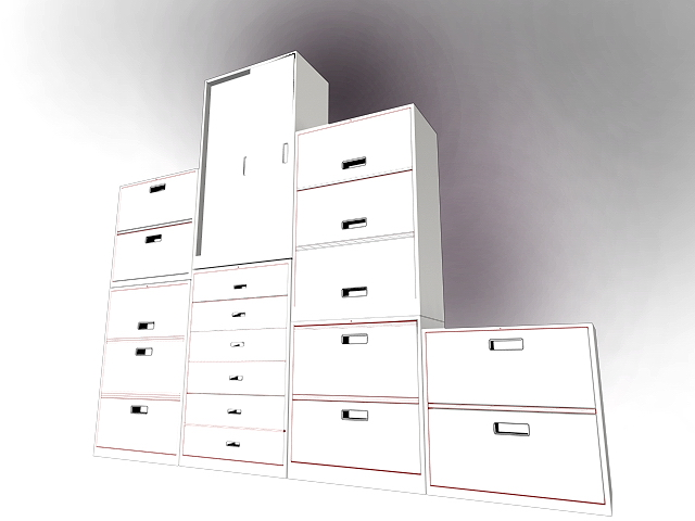 Office file cabinets furniture 3d rendering