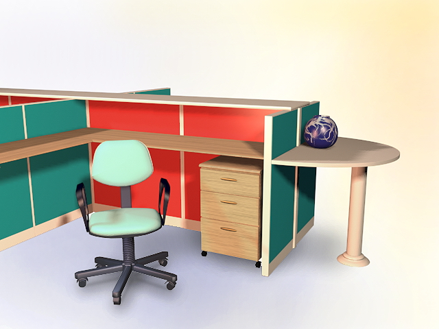 Office cubicle desk and chair 3d rendering
