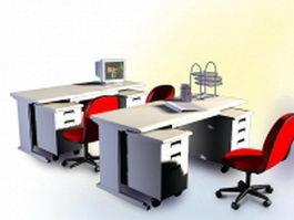 Office computer desk furniture 3d model preview