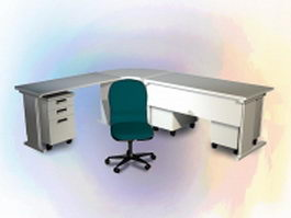 L shaped office desk and chair 3d preview