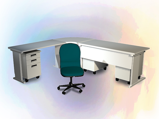 L shaped office desk and chair 3d rendering