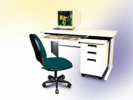 Computer desk with computer inside 3d model preview
