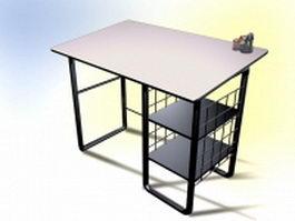 Vintage metal office desk 3d model preview