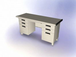 Traditional office desk 3d model preview