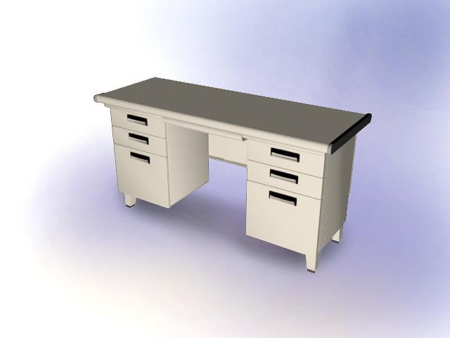 Traditional office desk 3d rendering