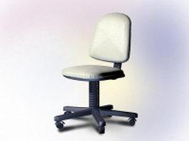 White swivel desk chair 3d model preview