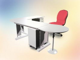L shaped office desk with chair 3d preview