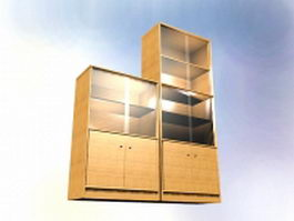 Wood filing cabinet with glass door 3d model preview