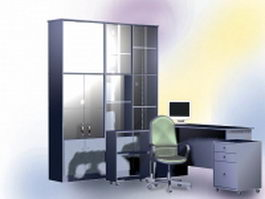 L-Shaped office wall unit 3d model preview