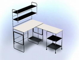 Office desk with hutch 3d preview