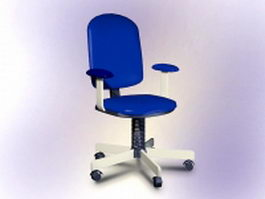 Blue office swivel chair 3d model preview