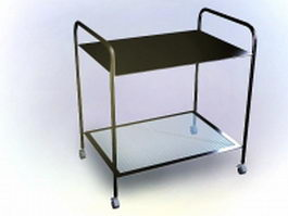 Rolling file cart 3d model preview
