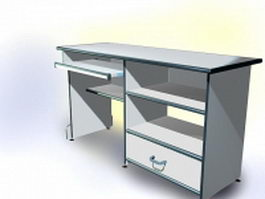 White computer desk with drawers 3d preview