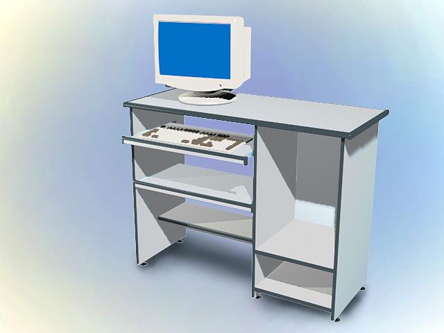 Computer desk with desktop computer 3d rendering