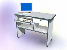Computer desk with monitor 3d preview