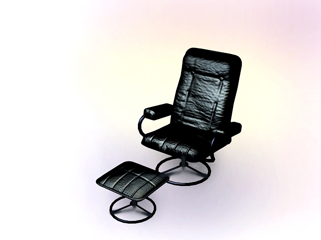 Executive chair with ottoman 3d rendering