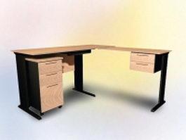 L shaped office desk 3d preview