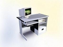 Computer desk furniture 3d model preview