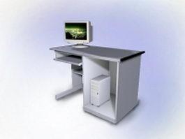 Ikea white computer desk 3d preview