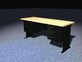 Office desk with drawers 3d preview