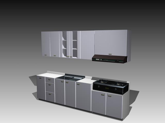 Wood kitchen cabinets design 3d rendering