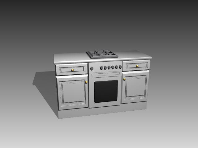 Simple stove cabinet 3d rendering