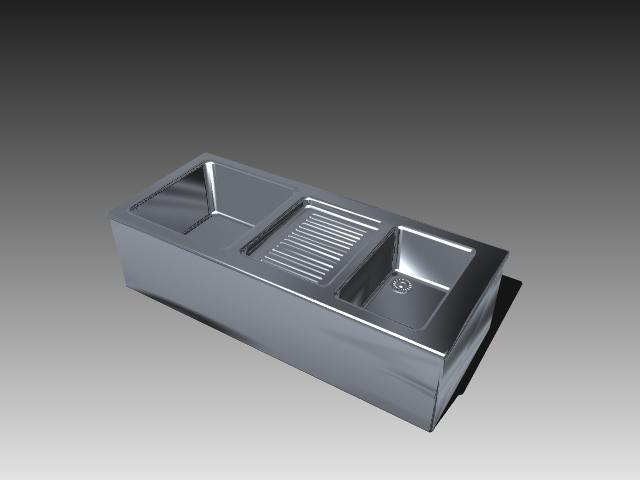 Double bowl kitchen sink design 3d rendering