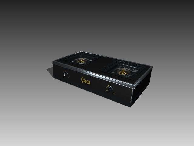 2 burner gas stove 3d rendering