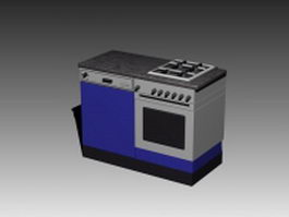 Gas stove countertop 3d model preview