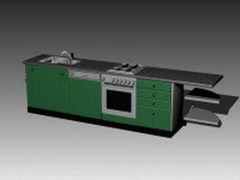 Apartment kitchen cabinet 3d model preview