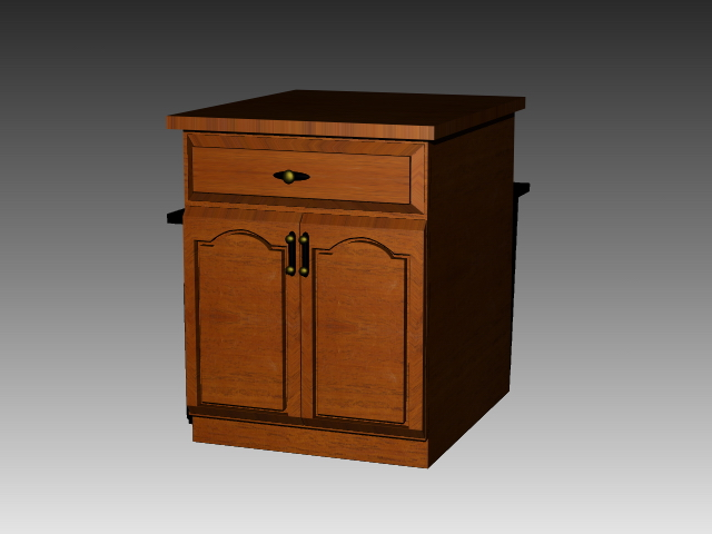 Free standing kitchen cupboard 3d rendering