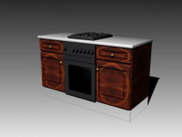Vintage stove cabinet 3d preview