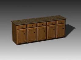 Retro kitchen countertop 3d preview
