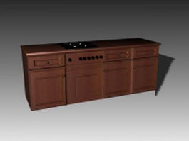 Kitchen countertop stove 3d preview