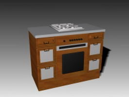 Classic gas stove 3d model preview