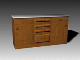 Classic kitchen island 3d model preview