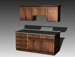 Antique kitchen cabinets 3d model preview
