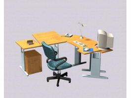Colorful office desk units 3d preview