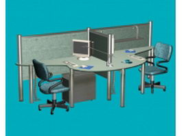 Office computer workstation 3d model preview