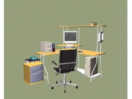 L-shaped office computer workstation 3d preview
