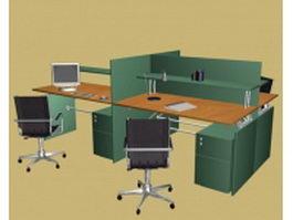 Office partition workstation 3d model preview