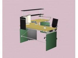 Computer workstation furniture 3d model preview