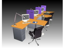 Office computer workstation collection 3d preview