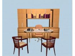 Executive desk sets furniture 3d model preview