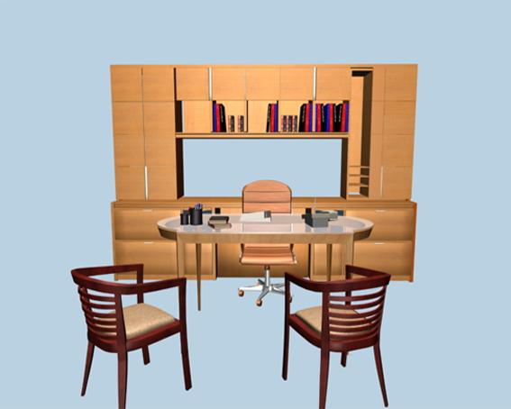 Executive desk sets furniture 3d rendering