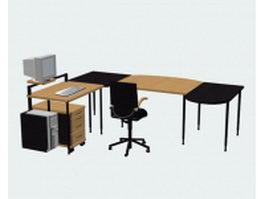 Office computer desk sets 3d preview