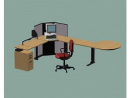 Corner computer desk furniture sets 3d preview