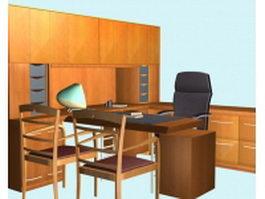 Classic executive desk furniture sets 3d preview