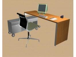 Office desk workstation 3d preview